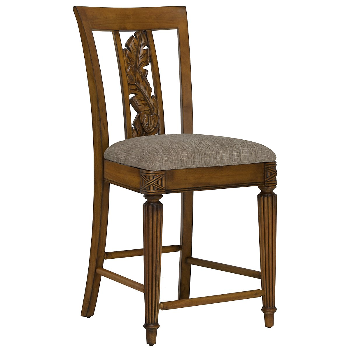 "Palm Mid Tone 24"" Carved Barstool"