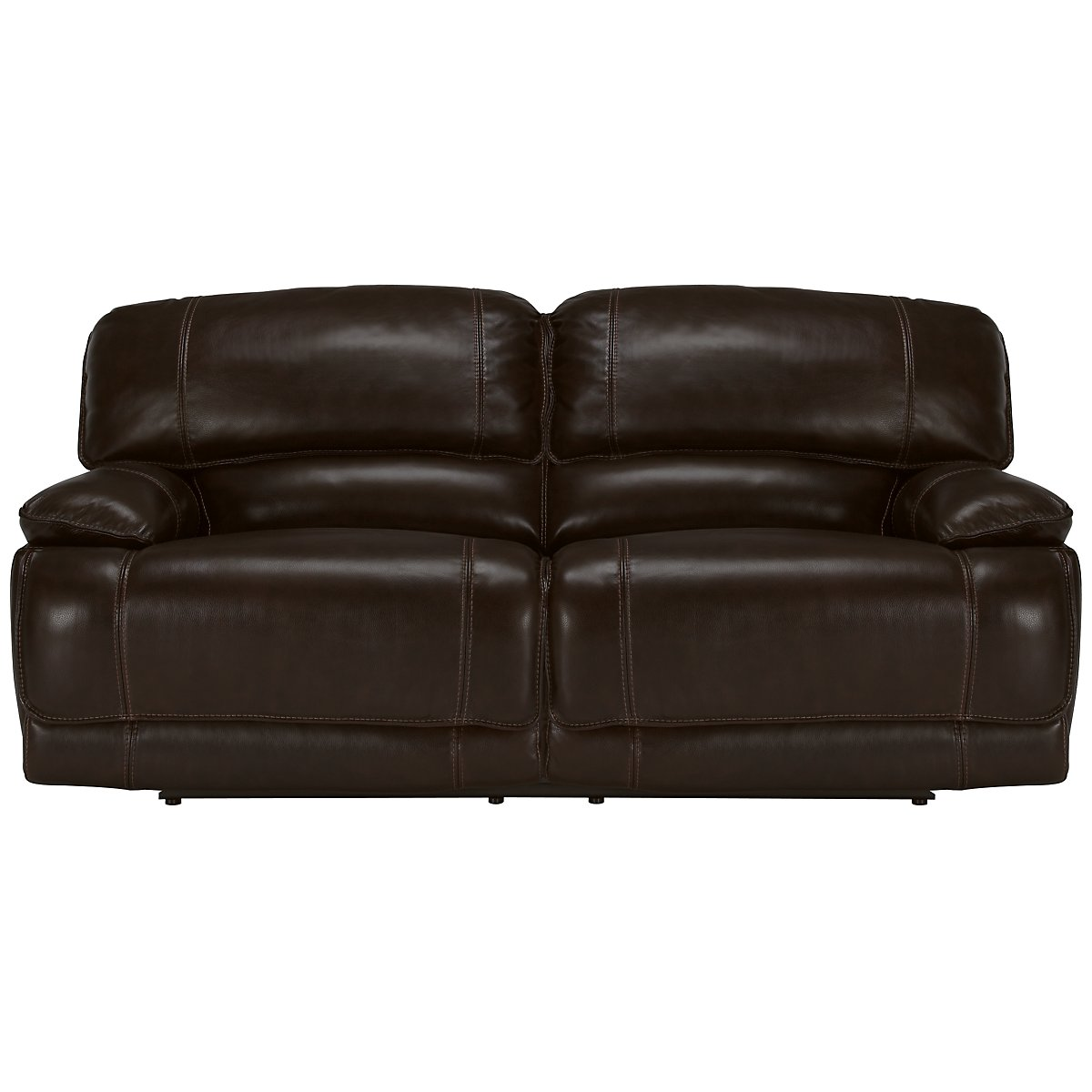 Benson Dk Brown Leather & Vinyl Reclining Sofa