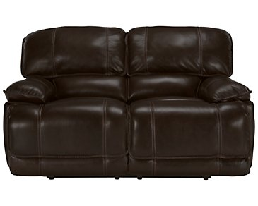 Benson Dark Brown Leather & Vinyl Reclining Loveseat