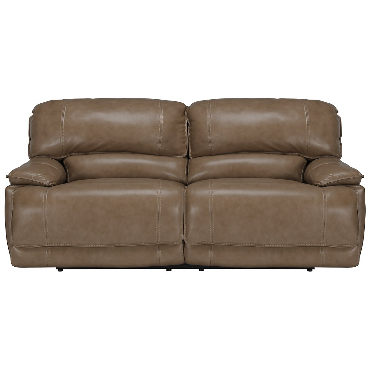 Benson Dk Taupe Leather & Vinyl Reclining Sofa
