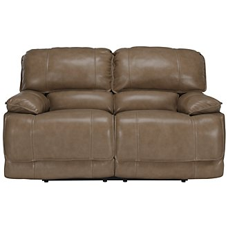 Benson Dark Taupe Leather & Vinyl Reclining Loveseat
