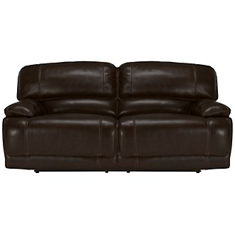 Benson Dk Brown Leather & Vinyl Power Reclining Sofa
