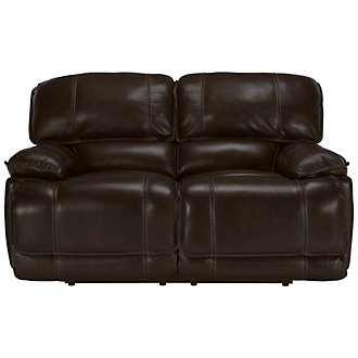 Benson Dark Brown Leather & Vinyl Power Reclining Loveseat