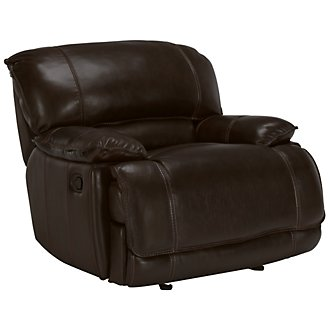 Benson Dk Brown Leather & Vinyl Power Recliner