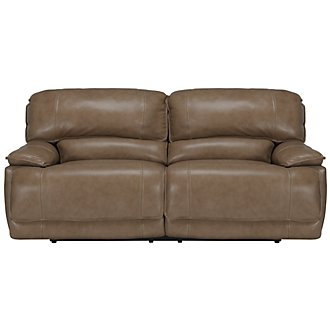 Benson Dk Taupe Leather & Vinyl Power Reclining Sofa