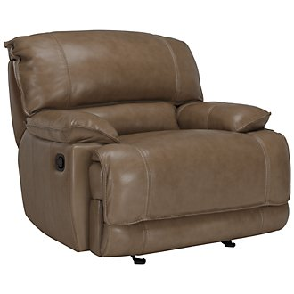 Benson Dk Taupe Leather & Vinyl Power Recliner