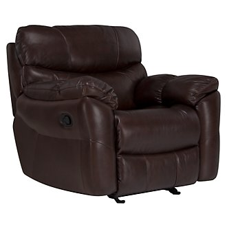 Derek Dk Brown Leather & Vinyl Glider Recliner