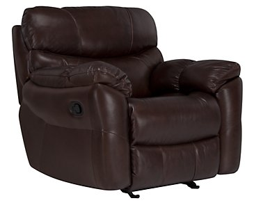 Derek Dark Brown Leather & Vinyl Glider Recliner