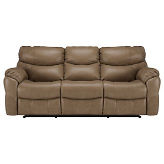 Derek Dk Taupe Leather & Vinyl Power Reclining Sofa