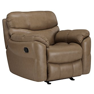 Derek Dk Taupe Leather & Vinyl Power Recliner