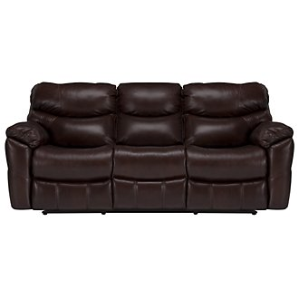 Derek Dk Brown Leather & Vinyl Power Reclining Sofa