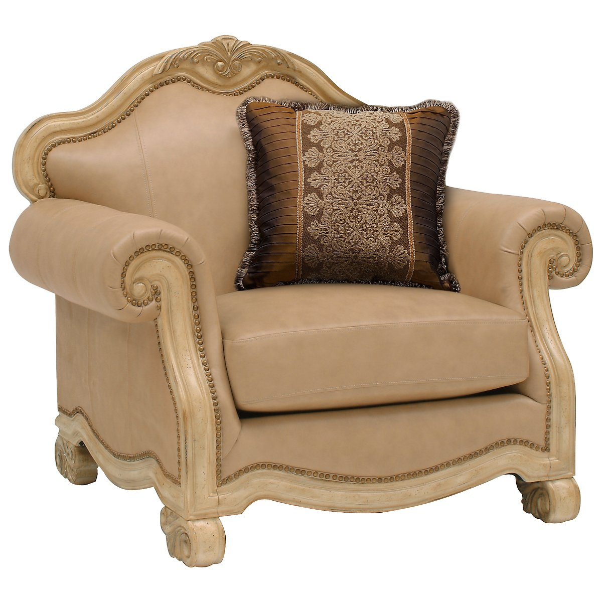 Regal Light Tone Leather Chair