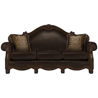 Regal Dark Tone Leather Sofa