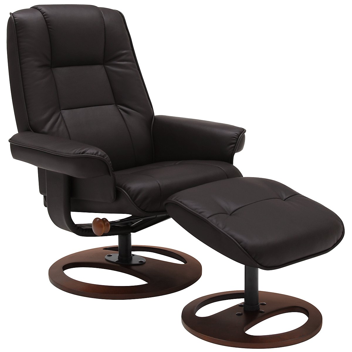 Dawson Dark Brown Upholstered Recliner & Ottoman