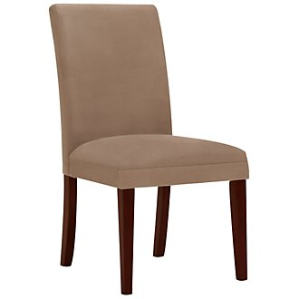 Park Dk Beige Microfiber Upholstered Side Chair