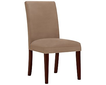 Park Dark Beige Microfiber Upholstered Side Chair