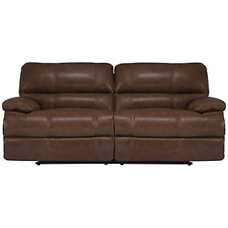 Alton2 Md Brown Leather & Vinyl Power Reclining Sofa