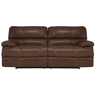 Alton2 Md Brown Leather & Vinyl Reclining Sofa