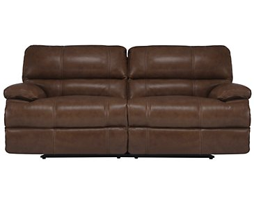 Alton2 Medium Brown Leather & Vinyl Reclining Sofa