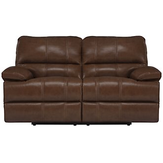 Alton2 Medium Brown Leather & Vinyl Reclining Loveseat