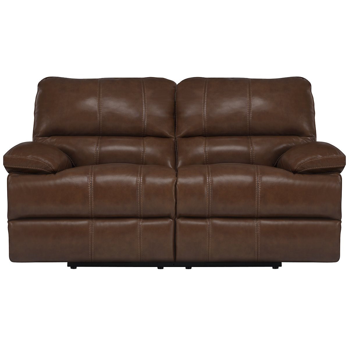 Alton2 Md Brown Leather & Vinyl Power Reclining Loveseat
