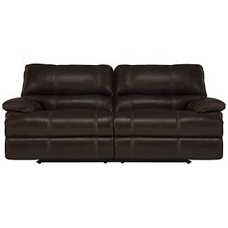 Alton2 Dk Brown Leather & Vinyl Power Reclining Sofa