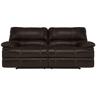 Alton2 Dk Brown Leather & Vinyl Reclining Sofa