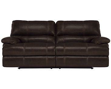 Alton2 Dark Brown Leather & Vinyl Reclining Sofa