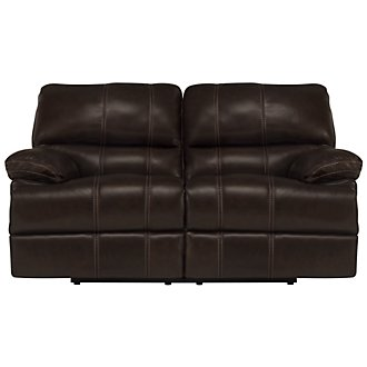 Alton2 Dark Brown Leather & Vinyl Reclining Loveseat
