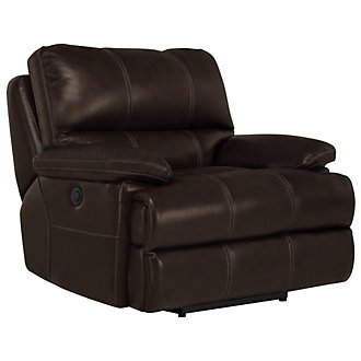 Alton2 Dk Brown Leather & Vinyl Recliner