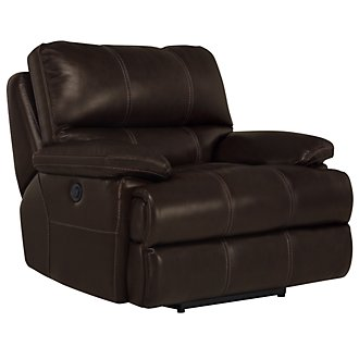 Alton2 Dk Brown Leather & Vinyl Power Recliner