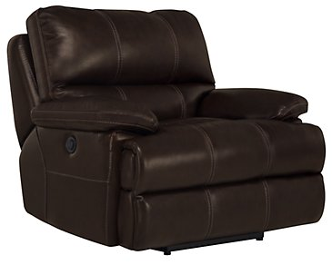 Alton2 Dark Brown Leather & Vinyl Power Recliner