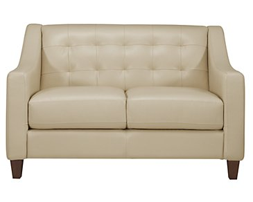 Elise Light Taupe Leather Loveseat
