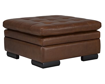 Trevor Medium Brown Leather Storage Ottoman