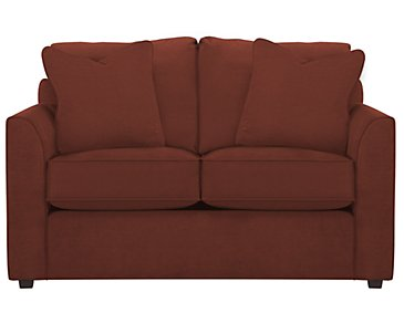 Express3 Red Microfiber Loveseat