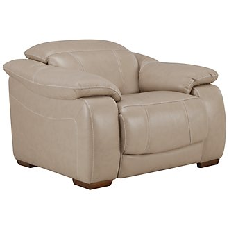 Orion Lt Taupe Leather & Bonded Leather Power Recliner
