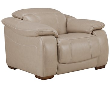 Orion Light Taupe Leather & Bonded Leather Power Recliner
