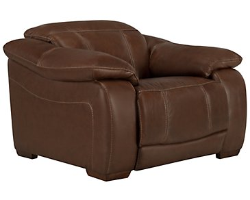 Orion Medium Brown Leather & Bonded Leather Power Recliner
