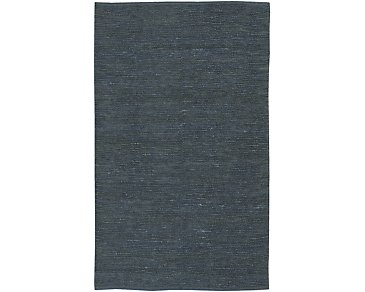 Solid Jute Blue 5X8 Area Rug