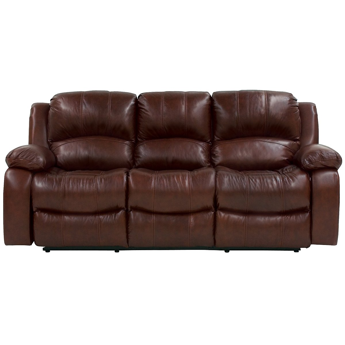 Tyler3 Md Brown Leather & Vinyl Reclining Sofa
