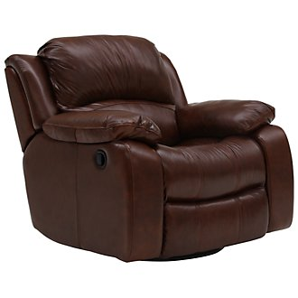 Tyler3 Md Brown Leather & Vinyl Swivel Glider Recl