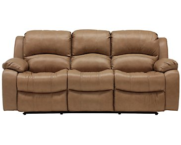 Tyler3 Dark Taupe Leather & Vinyl Reclining Sofa
