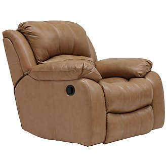 Tyler3 Dk Taupe Leather & Vinyl Swivel Glider Recl