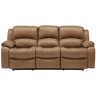 Tyler3 Dk Taupe Leather & Vinyl Power Reclining Sofa