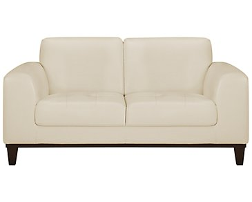 Piper Light Beige Bonded Leather Loveseat