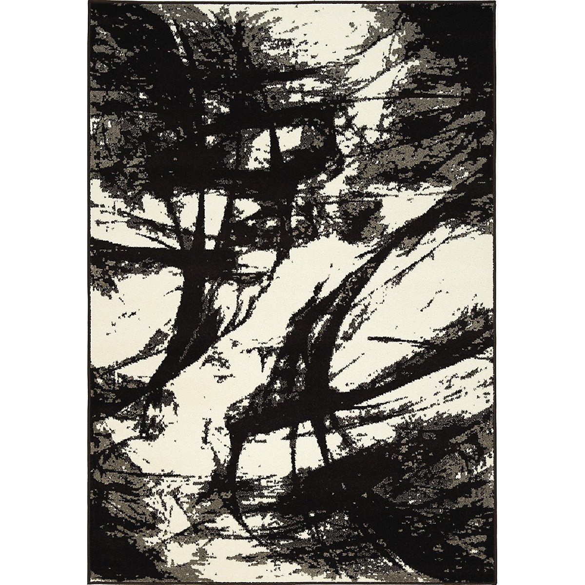 Abstract Black 5X8 Area Rug