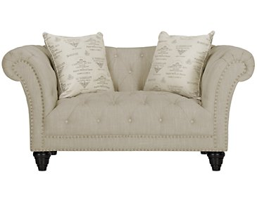 Hutton3 Light Taupe Linen Loveseat