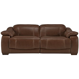 Orion Md Brown Leather & Bonded Leather Power Reclining Loveseat