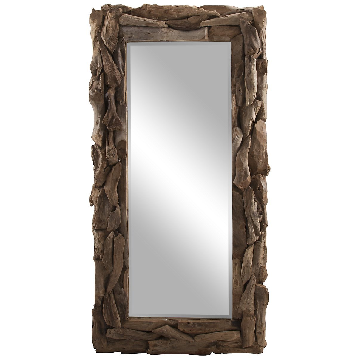 Teak Root Wood Floor Mirror