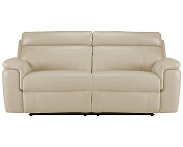 Gamma Beige Microfiber Power Reclining Sofa